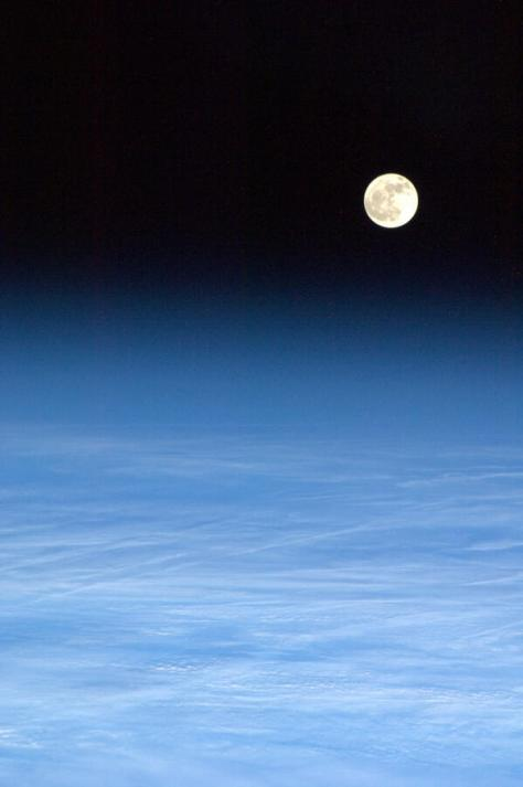 "Cmdr_Hadfield: Mar 4~""Tonight's Finale: The Moon, newly risen, perfect over a flowing blanket of cloud."""