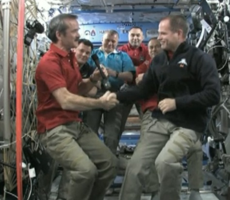 Commander Hadfield makes history